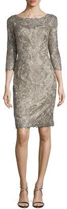 Tadashi Shoji 3/4-Sleeve Lace Cocktail Dress, Gold $430 thestylecure.com