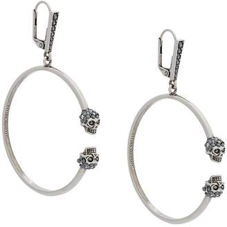 Alexander McQueen twin skull hoop earrings