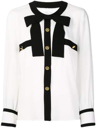 Edward Achour Paris contrast bow tie shirt