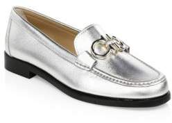 Salvatore Ferragamo Rolo Metallic Leather Loafers