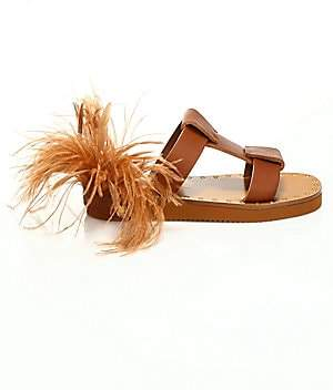 Valentino Women's Soul Feathers Leather Slide Sandals