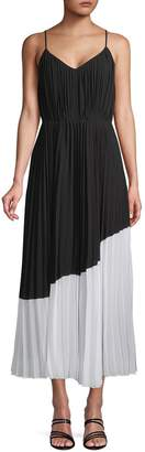 Nanette Lepore Nanette Pleated Asymmetric Colorblock Maxi Dress