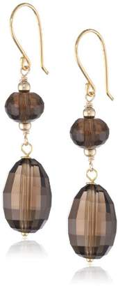 Gold-Plated Sterling Silver Faceted Smoky Quartz Beads Drop Earrings