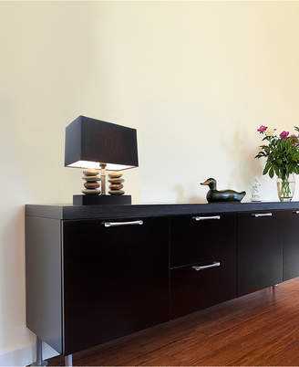 Elegant Designs Rectangular Dual Stacked Stone Ceramic Table Lamp with Black Shade