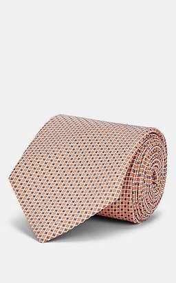 Brioni Men's Mini-Dot-Grid Silk Satin Necktie - Orange