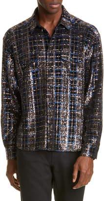 Saint Laurent Sequin Plaid Silk Shirt