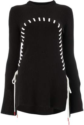 Monse contrast stitch flared jumper
