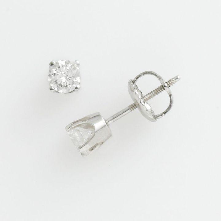 14k White Gold 1/2-Ct. T.w. Certified Round Cut Diamond Stud Earrings