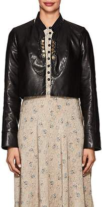 Mayle Maison Women's Yves Collarless Leather Jacket