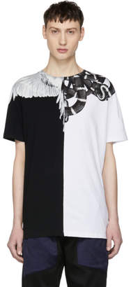 Marcelo Burlon County of Milan Black and White Snake Wing T-Shirt