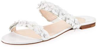 Nancy Gonzalez Frida Two-Strap Crocodile Flat Slide Sandals
