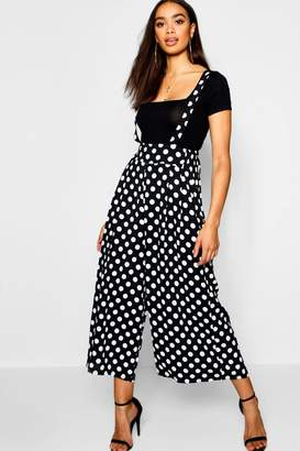 boohoo Polka Dot High Waist Trousers With Braces