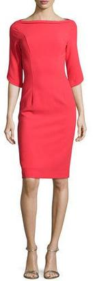 Black Halo 3/4-Sleeve Structured Ponte Sheath Dress, Chic Red $345 thestylecure.com