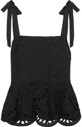 J.Crew Stucco Grosgrain-trimmed Broderie Anglaise Top - Black