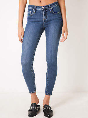 Nobody New Geo Mid Rise Skinny Ankle Jeans In Ambition Blue Denim Womens Jeans