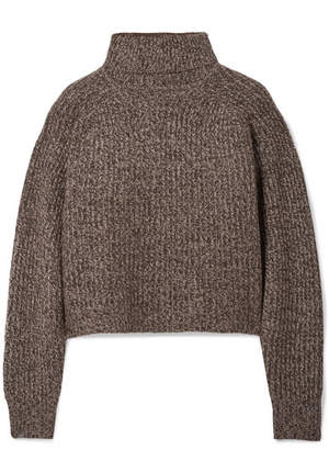 The Row Dickie Oversized Cropped Mélange Cashmere Turtleneck Sweater - Brown