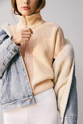 Urban Outfitters Charlene Knit Zip-Up Turtleneck Sweater