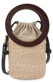 Aranaz Mini Ines Straw Bucket Bag