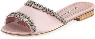 Manolo Blahnik Triunslo Embellished Satin Flat Slide Sandal