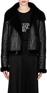 Saint Laurent Women's Leather & Shearling Asymmetric-Zip Jacket - Black
