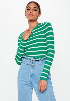 Missguided Green Stripe Long Sleeve Knit Sweater