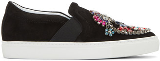 Lanvin Black Embellished Slip-On Sneakers $950 thestylecure.com