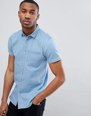 New Look Regular Fit Short Sleeve Denim Shirt In Light Blue Wash