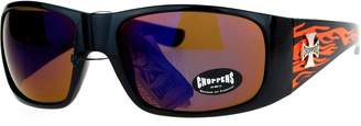 PASTL Choppers Flame Sunglasses Wrap Around Shield Biker Shades UV 400 Black