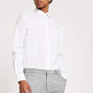 River Island Mens Farah White long sleeve shirt