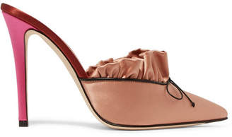 Marco De Vincenzo Ruched Satin Mules - Antique rose