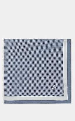 Brioni Men's Crosshatch Silk Twill Pocket Square - Turquoise, Aqua