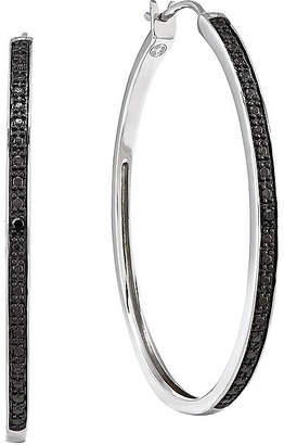 FINE JEWELRY Color-Enhanced Black Diamond-Accent Sterling Silver Large Hoop Earrings
