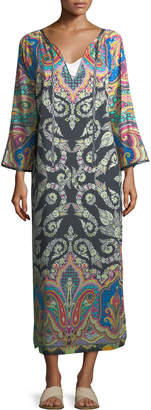 Etro Long-Sleeve Split-Neck Caftan Maxi Dress