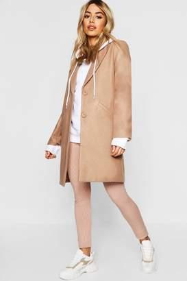 boohoo Petite Wool Look Lined Chuck On Coat