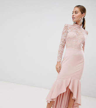 City Goddess Petite Long Sleeve High Neck Fishtail Maxi Dress With Lace Detail