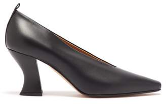 Bottega Veneta High Cut Spool Heel Leather Pumps - Womens - Black