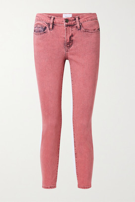 Current/Elliott The Stiletto Cropped Mid-rise Skinny Jeans - Pink