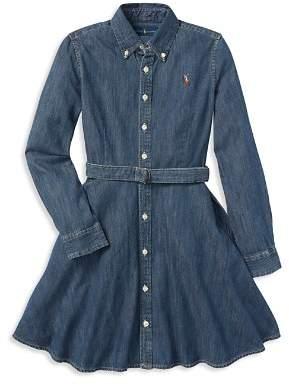 Ralph Lauren Girls' Denim Shirt Dress with Belt - Big Kid