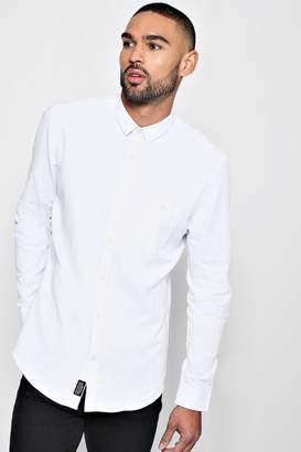 boohoo Linen Cotton Blend Long Sleeve Shirt