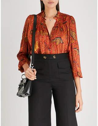 BA&SH Danila ruffled printed chiffon shirt