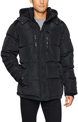 English Laundry Men's Bubble Jacket with Faux Sherpa Trim