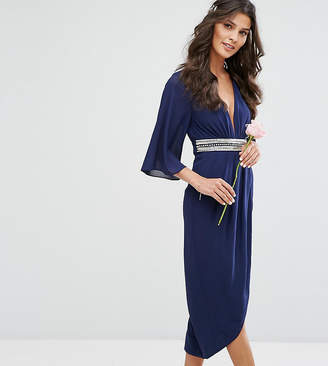 TFNC Kimono Sleeve Midi Bridesmaid Dress with Wrap Skirt