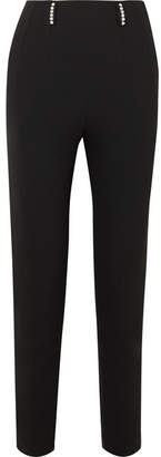 Christopher Kane Crystal-embellished Twill Slim-leg Pants - Black