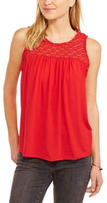 POOF-Slinky Poof! Women's Eyelet Embroidered Front Tank