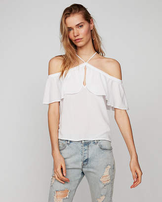 Express Petite Off The Shoulder Halter Top