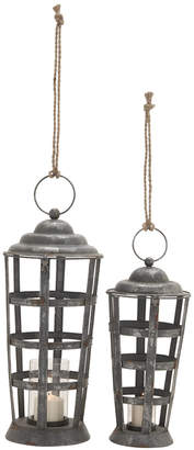 UMA Enterprises 2Pc Metal & Glass Candle Lanterns