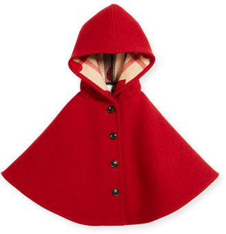 Burberry Rosa Hooded Button-Front Wool Cape, Windsor Red, Size M-L $350 thestylecure.com