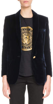 Balmain One-Button Long-Sleeve Velvet Jacket