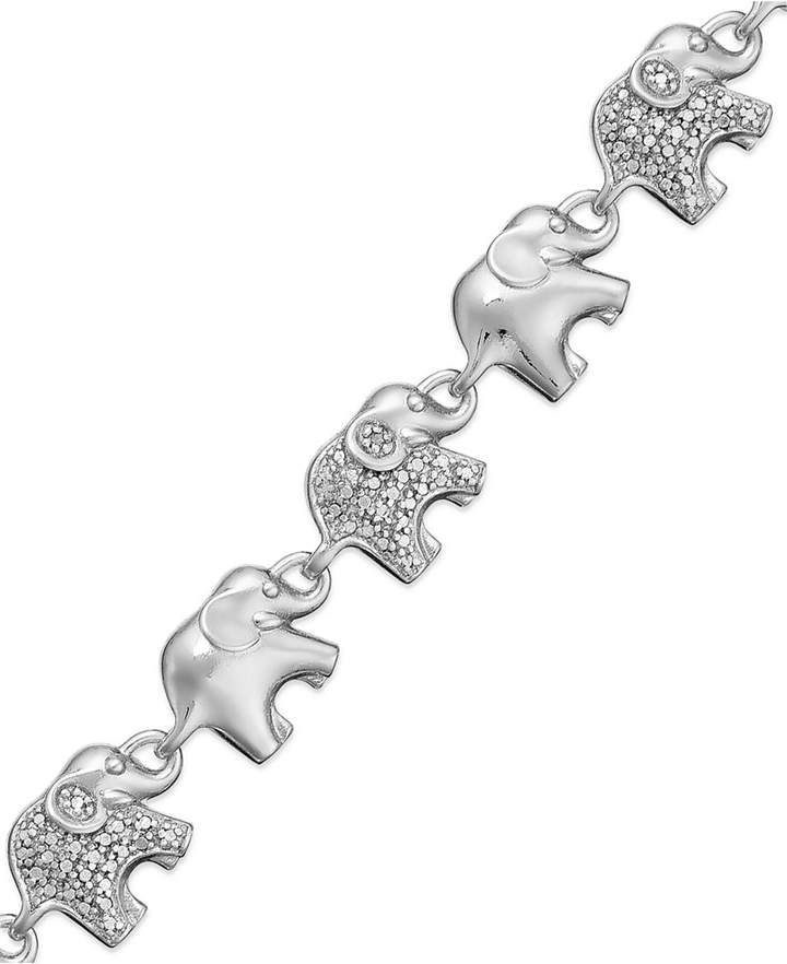 Macy's Sterling Silver-Plated or 18k Gold over Sterling Silver-Plated Diamond Accent Linked Elephant Charm Bracelet