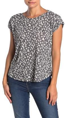 Bobeau Leopard Print Slub Knit Cap Sleeve Top (Petite)